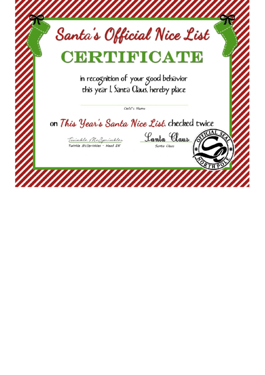 Santas Official Nice List Certificate Template printable ...