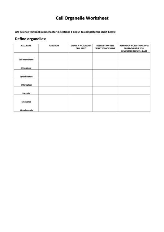 cell organelle worksheet Cells and their organelles the cell is the basic unit of life the following is a glossary of animal cell terms all cells are surrounded by a.