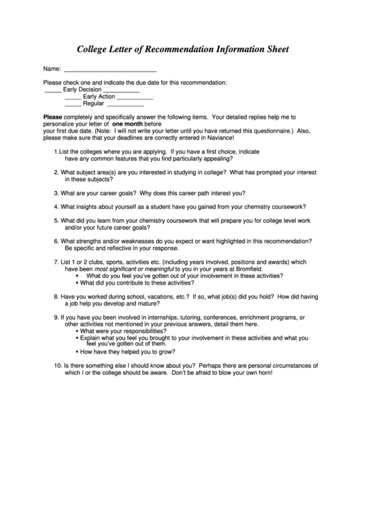 College Letter Of Recommendation Information Sheet
