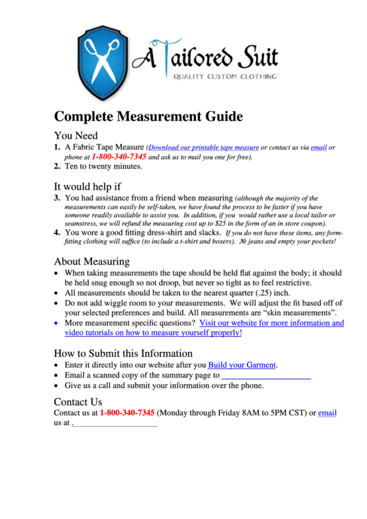 A Tailored Suit Measurement Guide & Information Summary Template