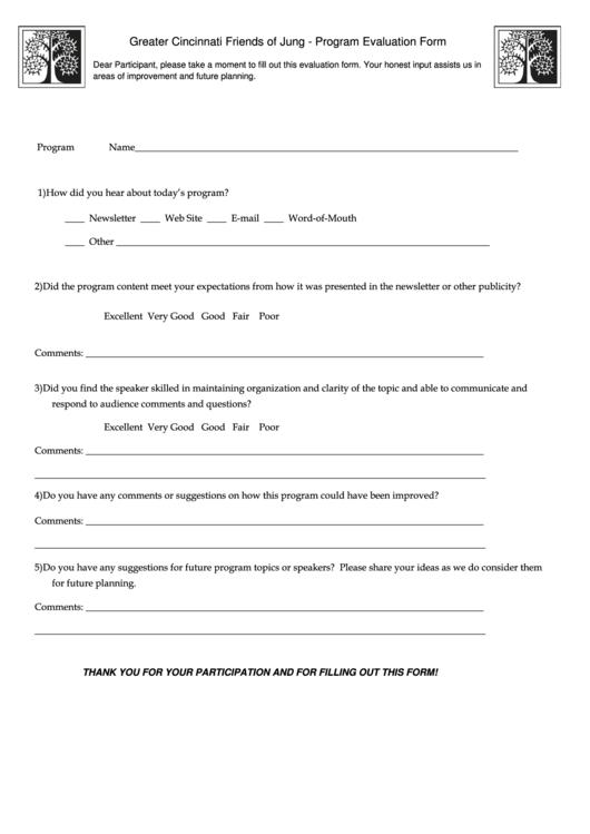 Greater Cincinnati Friends Of Jung   Program Evaluation Form