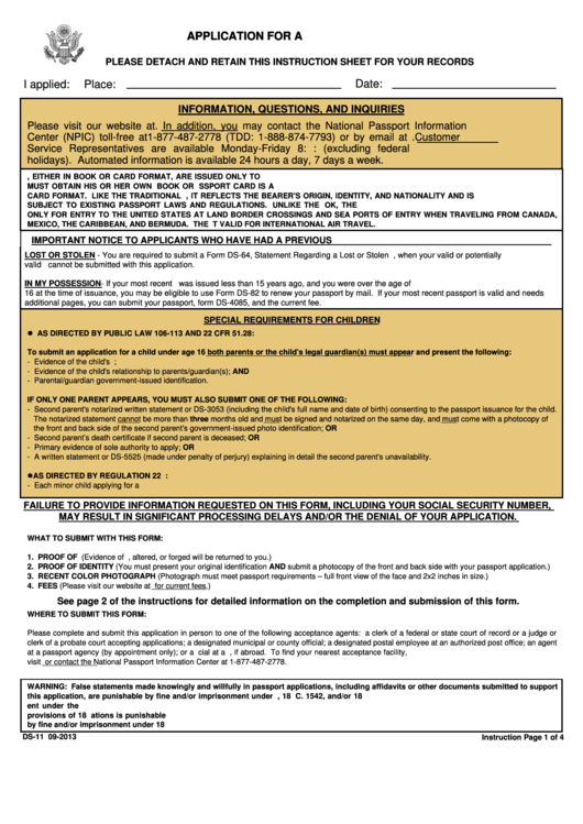 Form Ds 11 Application Form For A Us Passport Printable Pdf Download