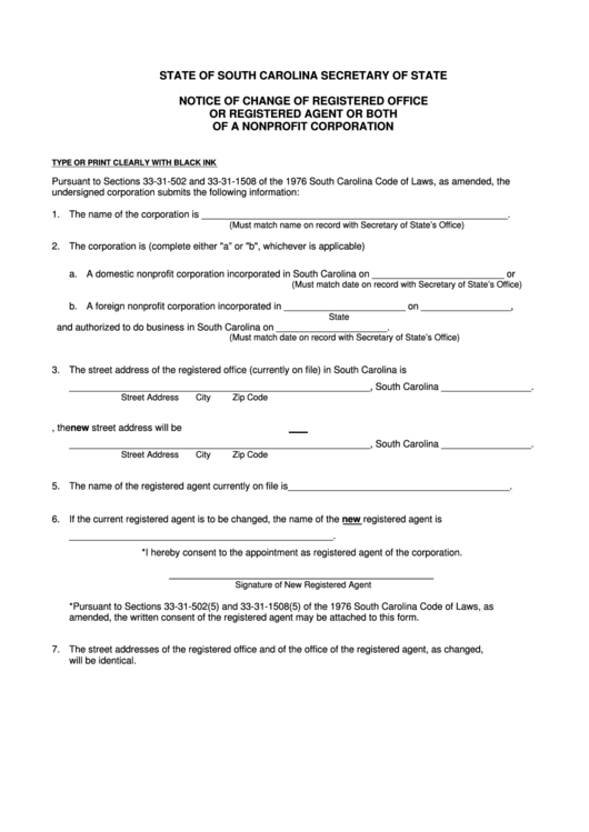 Fillable Notice Of Change Of Registered Office Or Registered Agent Or Both Of A Nonprofit Corporation Template - South Carolina Secretary Of State Printable pdf