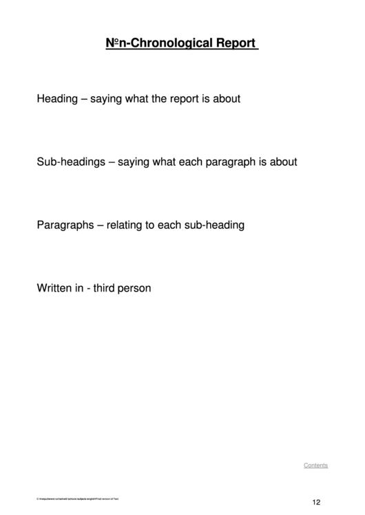 Non-chronological Report