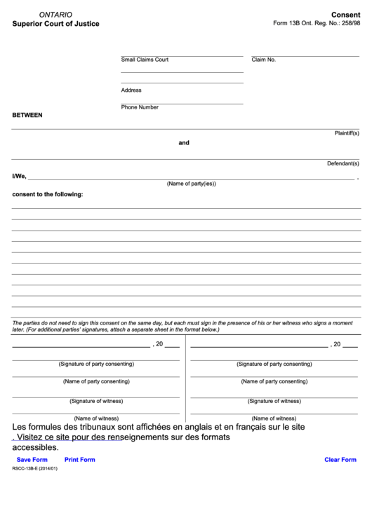 Fillable Consent Form 13b