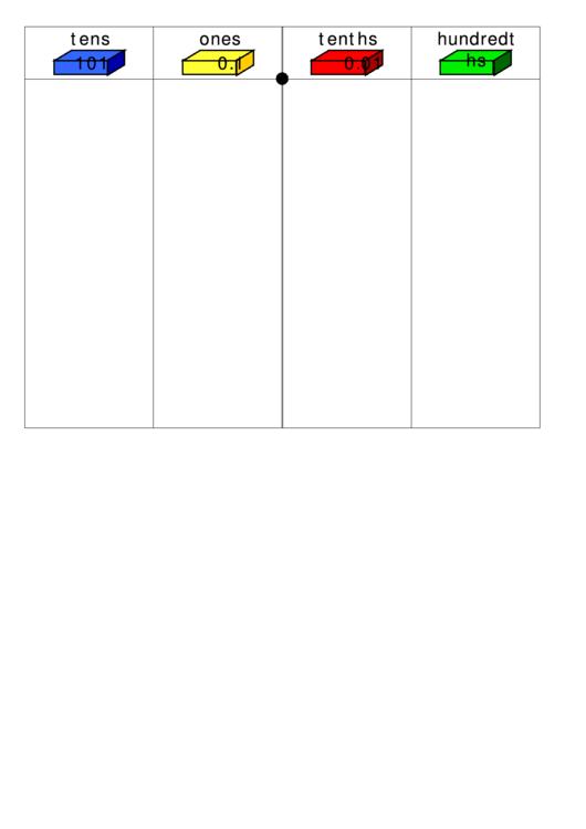 Tens And Ones Chart Printable pdf