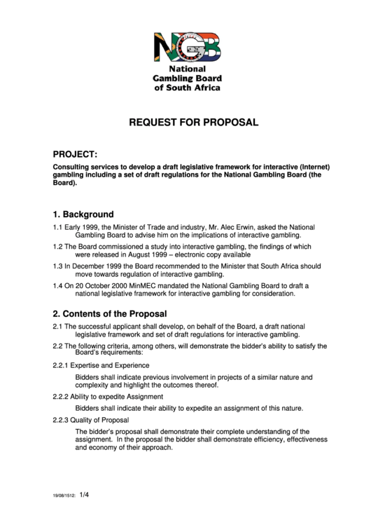 Request For Proposal Printable pdf