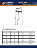 Champion System Casual Pant Casual Pant Size Chart