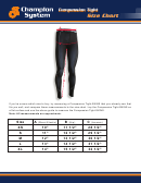 Champion System Compression Tight Size Chart