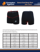 Champion System Donna Forte Booty Short Size Chart