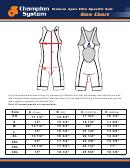 Champion System Woman Apex Elite Specific Suit Size Chart