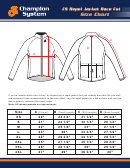 Champion System Repel Jacket Race Cut Size Chart