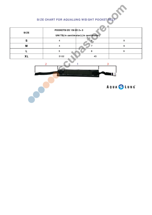 Size Chart For Aqualung Weight Pocket Belt Printable pdf