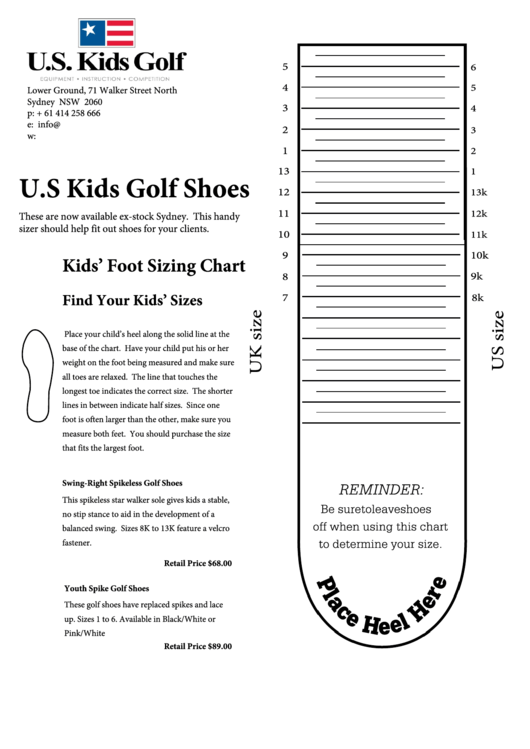 U.s Kids Golf Shoes Size Chart