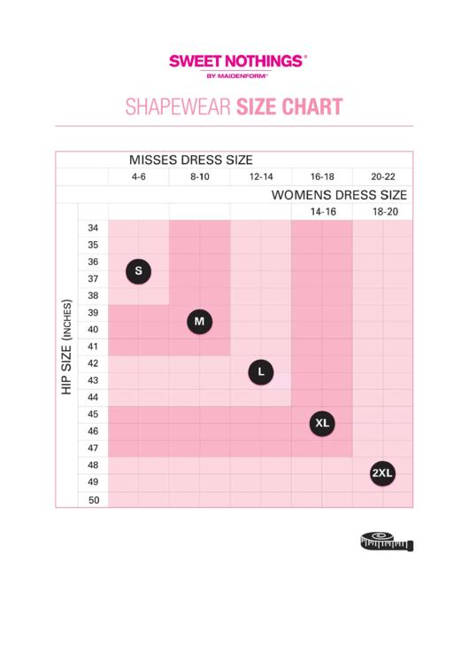 Sweet Nothings Shapewear Size Chart