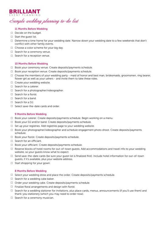 Sample Wedding Planning To Do List 11 Months