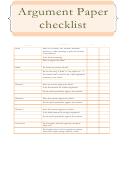 Argument Paper Checklist Template