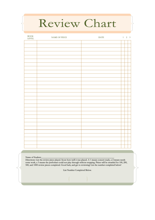Book Review Chart Template Printable pdf