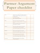 Partner Argument Paper Checklist Template