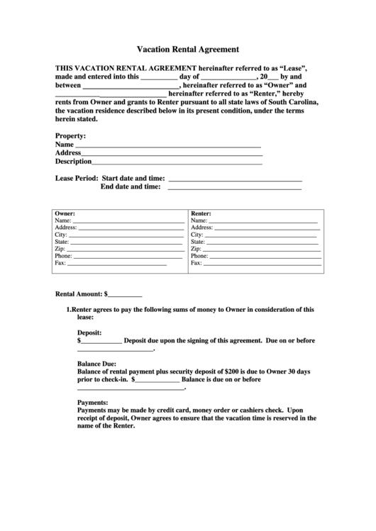 vacation rental agreement form printable pdf download. Black Bedroom Furniture Sets. Home Design Ideas