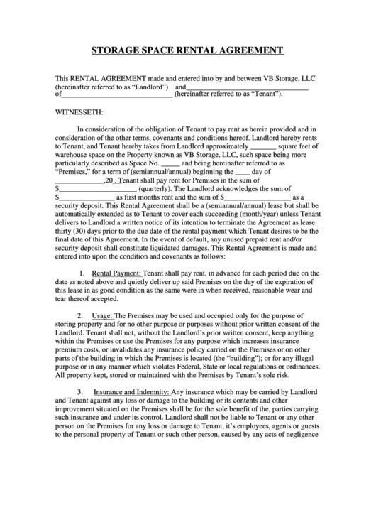 Storage Space Rental Agreement Printable pdf