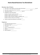 Home Based Business Tax Worksheet