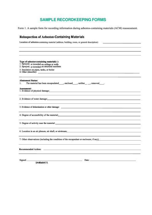 Sample Record Keeping Forms Printable pdf