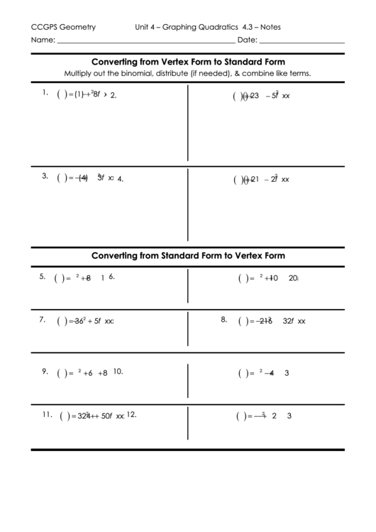 Converting From Vertex Form To Standard Form Printable Pdf Download