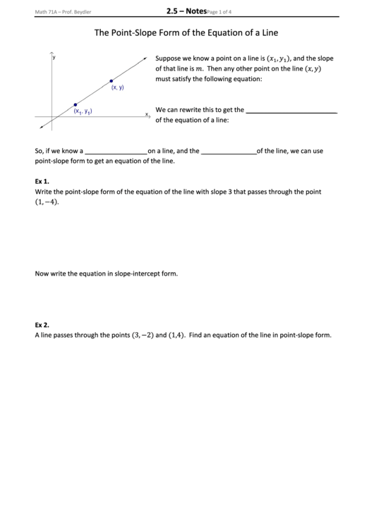 Fillable The Point Slope Form Of The Equation Of A Line Printable