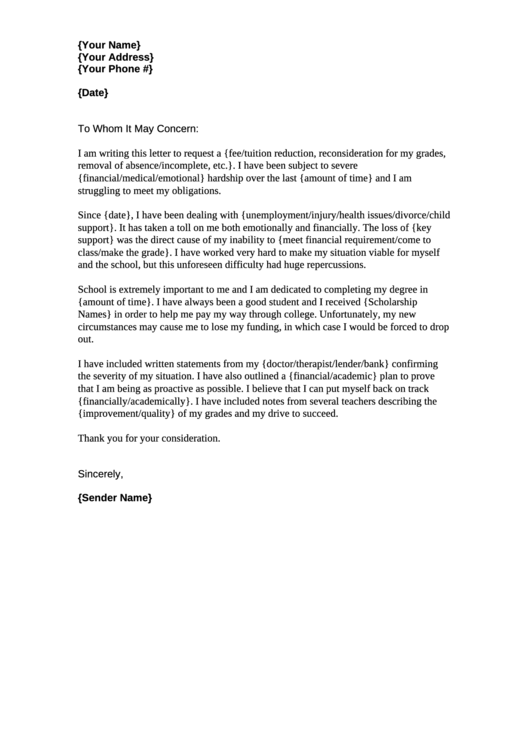 Hardship Letter Templates Free To Download In PDF - Financial hardship letter template