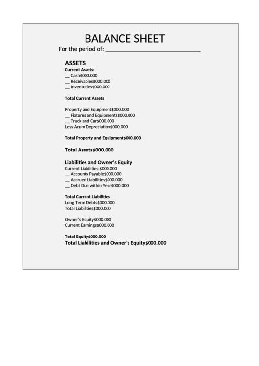 Balance Sheet Template Printable pdf