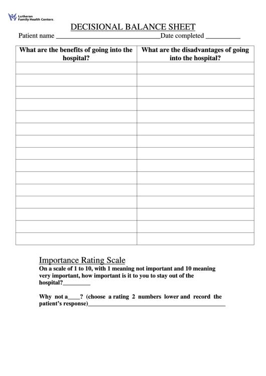 Patient Decisional Balance Sheet
