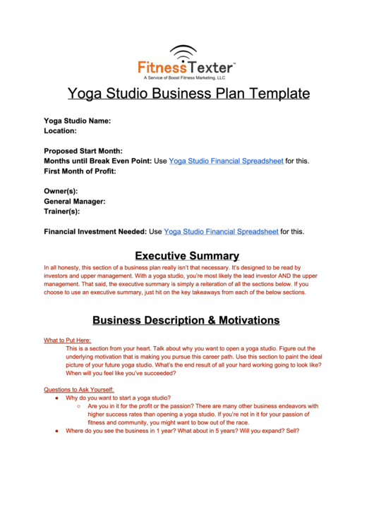 Yoga studio business plan template - Can vita