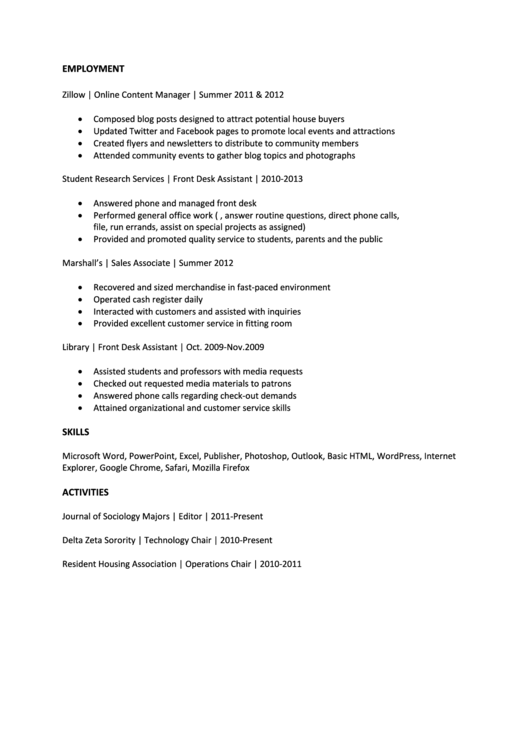 Sample Media Cv Printable pdf