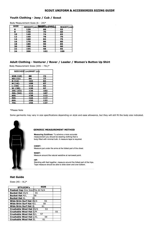 scout uniform  u0026 accessories sizing guide printable pdf