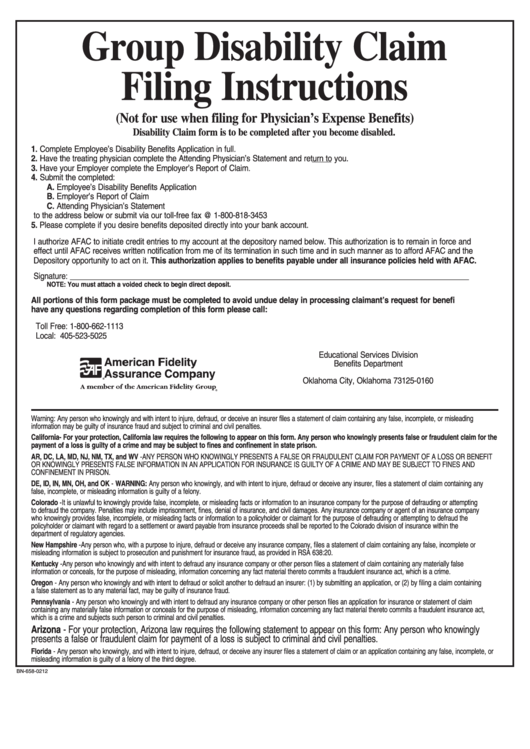 Form Bn-658-0212 - Group Disability Claim Form - American Fidelity ...