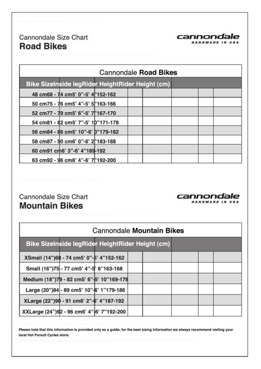 cannondale size chart - Oyu.armanmarine.co