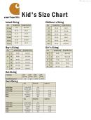 Carhartt Kid's Size Chart