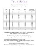 True Bride Bridesmaid Adult Size Chart