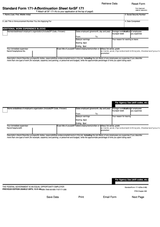 Fillable Standard Form 171 A Continuation Sheet For Sf 171