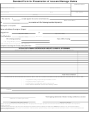 Standard Form For Presentation Of Loss And Damage Claims