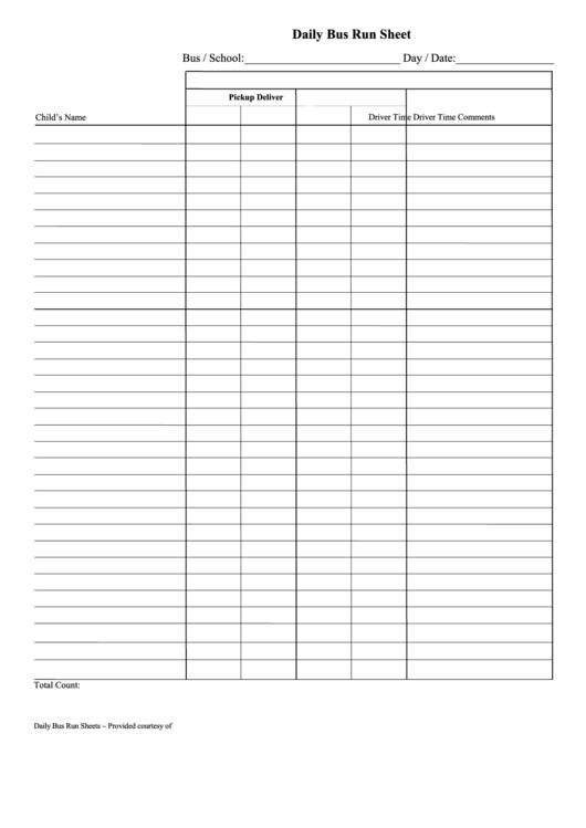 Daily Bus Run Sheet Printable pdf