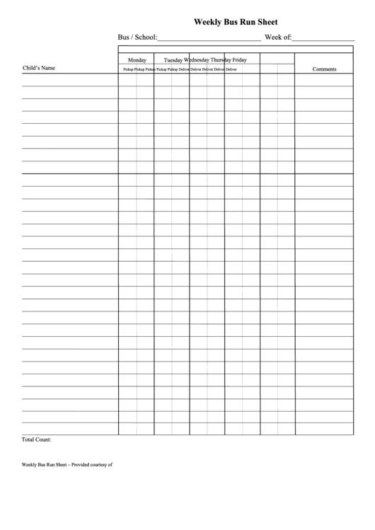 Weekly Bus Run Sheet Printable pdf