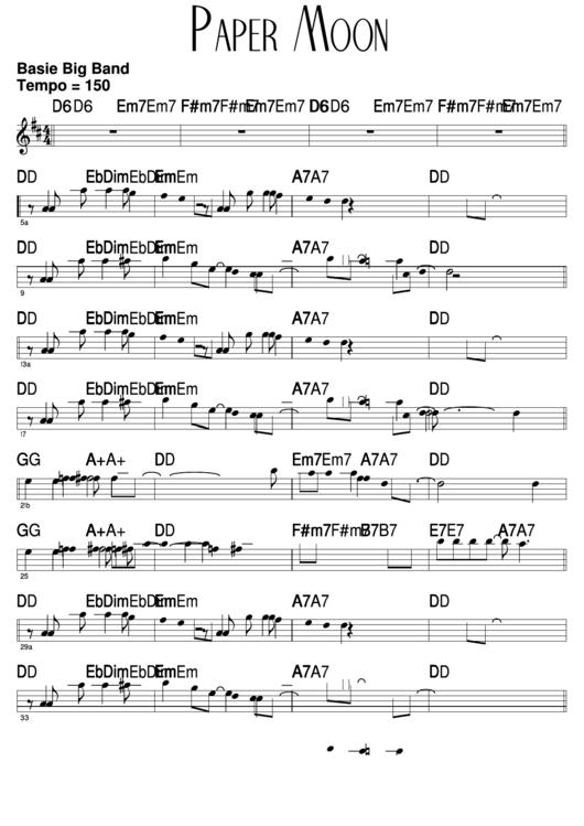 Paper Moon Sheet Music Printable pdf