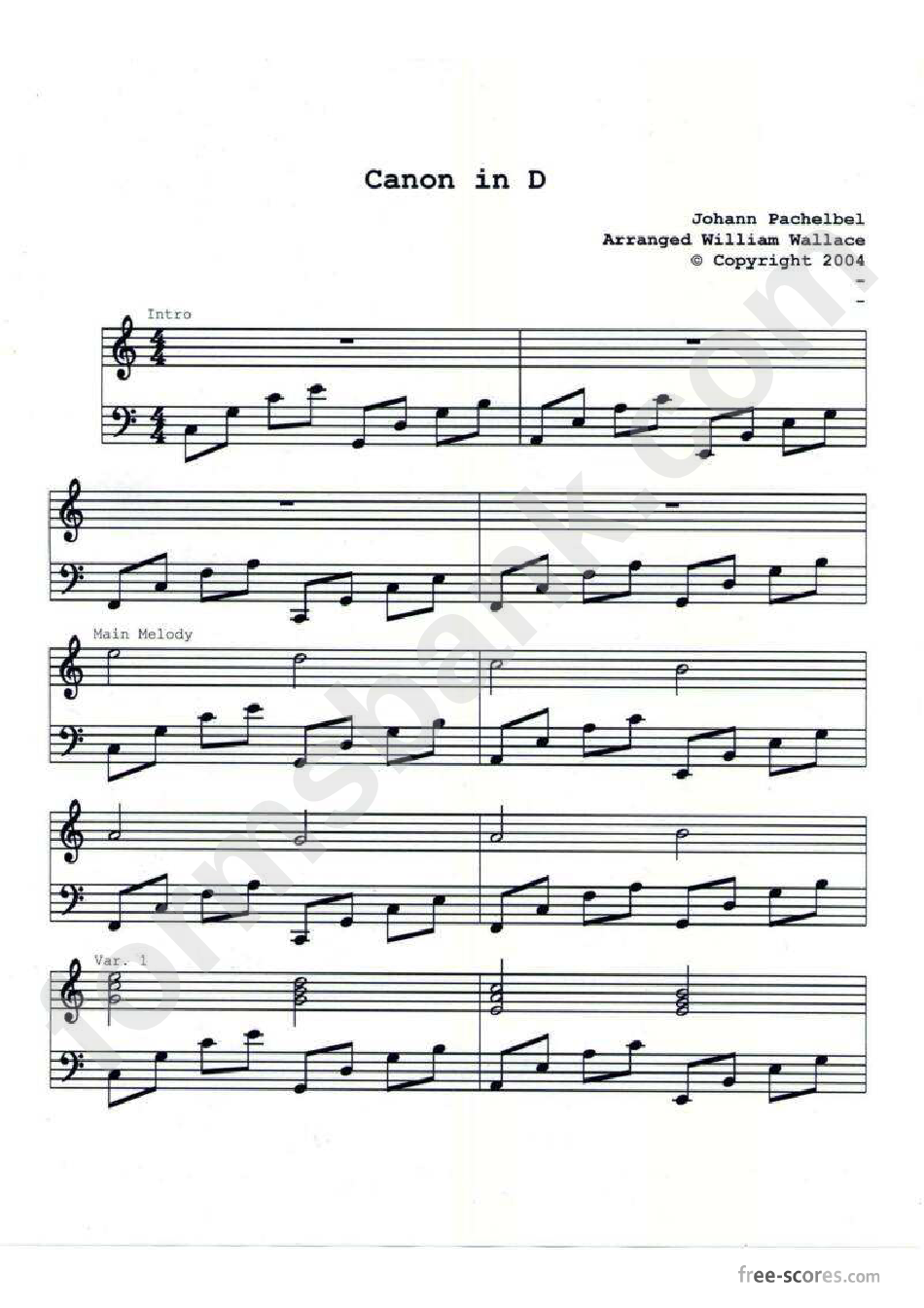 Canon In D Piano Sheet Music Printable Pdf Download