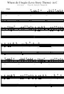 Where Do I Begin (love Story Theme) In C Piano Sheet Music