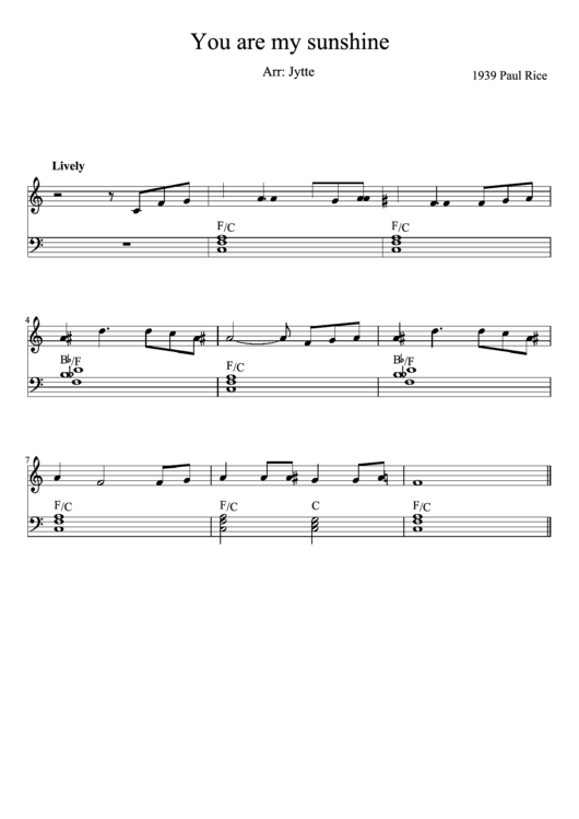 You Are My Sunshine Piano Sheet Music printable pdf download