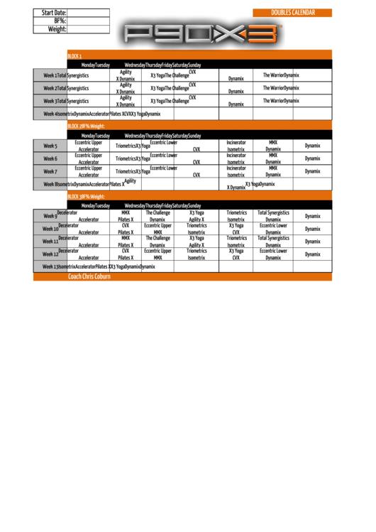 Top Five P90x3 Schedule Doubles - Circus