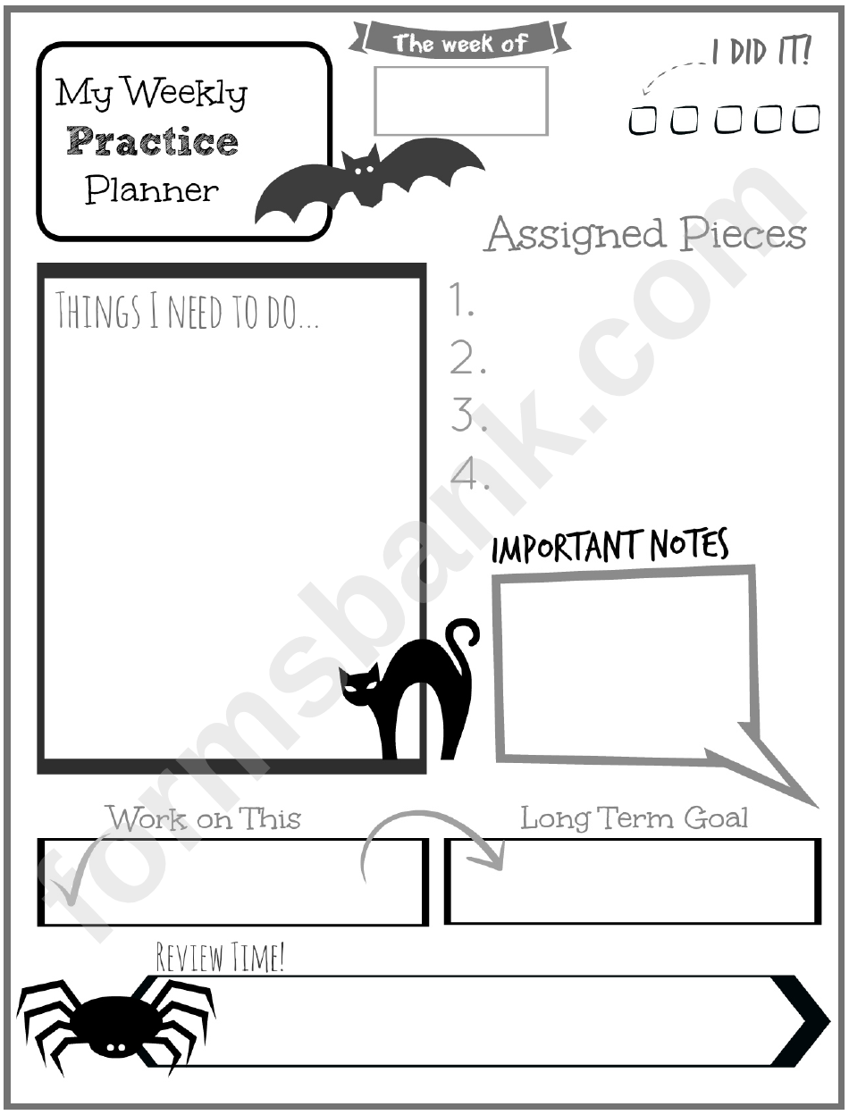 Weekly Practice Planner For Kids Bat