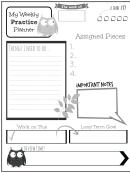 Weekly Practice Planner For Kids Owl